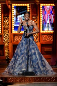Petina Miller looking divine and overjoyed as she accepts Best Actress in a Musical (Pippin). Her performance earlier in the night was also amazing!